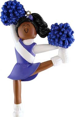 African-American Cheerleader in Blue Uniform Christmas Ornament