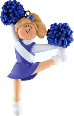 Blonde Cheerleader in Blue Uniform Christmas Ornament