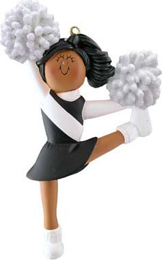 African-American Cheerleader in Black Uniform Christmas Ornament