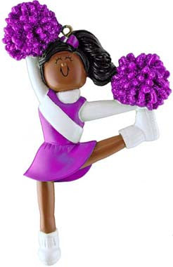 African-American Cheerleader in Purple Uniform Christmas Ornament