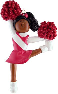 African-American Cheerleader in Red Uniform Christmas Ornament