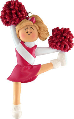Blonde Cheerleader in Red Uniform Christmas Ornament