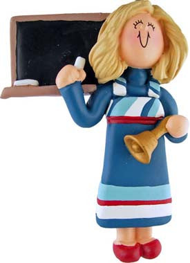 Blonde Teacher in Blue Dress Christmas Ornament