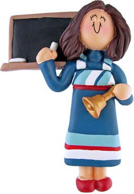 Brunette Teacher in Blue Dress Christmas Ornament