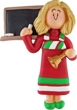 Blonde Teacher in Red Dress Christmas Ornament
