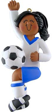 Female Soccer Player in Blue Uniform Christmas Ornament