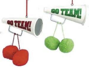 Megaphone and Pom Pom Christmas Ornament (Set of 2)