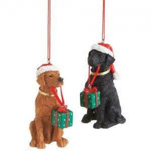 Labradors with Presents Christmas Ornament (Set of 2)