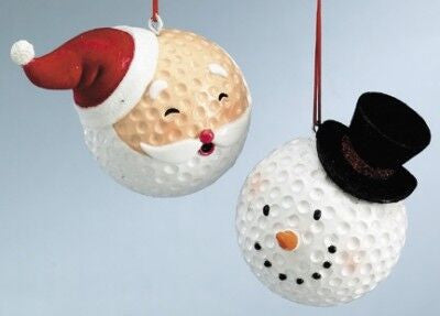 Golf Ball Heads Christmas Ornaments (set of 2)