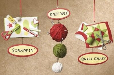 Knit, Quilt, Scrapbooking Christmas Ornament (Set of 3)