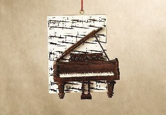 Piano with Sheet Music Christmas Ornament