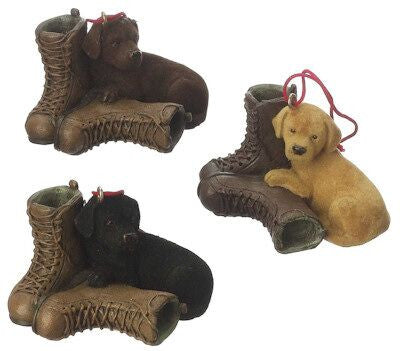 Labrador with Boot Christmas Ornament (Set of 3)