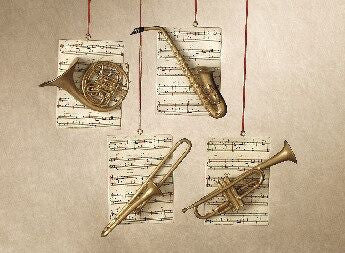 Instruments with Sheet Music Christmas Ornaments (Set of 4)