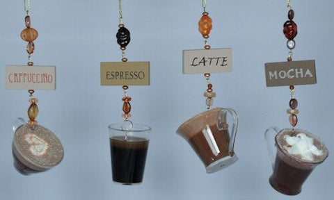 Coffee Christmas Ornaments (Set of 4)