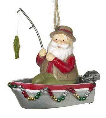 Fishing Santa Christmas Ornament