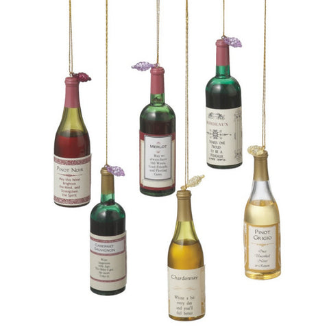 Wine Bottles Christmas Ornaments (Set of 6)