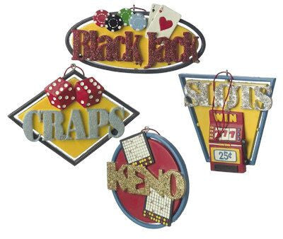 Gambling Christmas Ornaments (Set of 4)