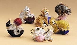 Cats with Yarn Christmas Ornaments (Set of 6)