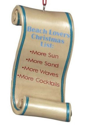 Beach List Christmas Ornament