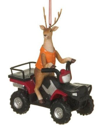 Deer on ATV Christmas Ornament