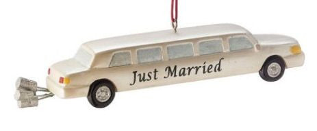 Just Married Limo Christmas Ornament
