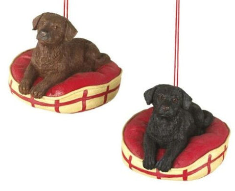 Labradors on Bed Christmas Ornament (Set of 2)