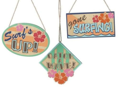 Surfing Signs Christmas Ornaments (Set of 3)