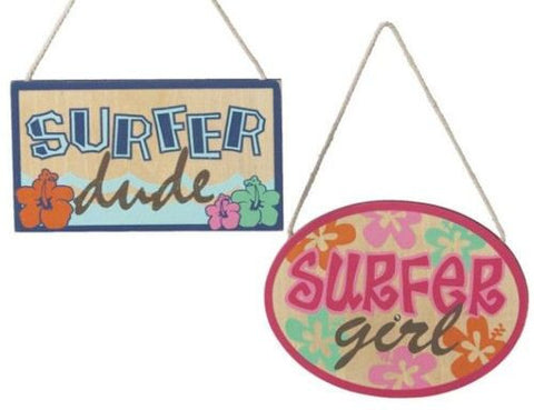 Surfer Sign Christmas Ornaments (set of 2)