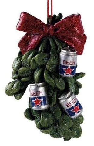 Beer Mistletow Christmas Ornament