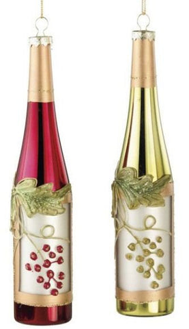 Wine Bottles Christmas Ornaments (Set of 2)