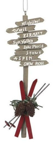 Ski Resort Sign Christmas Ornament