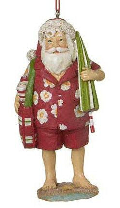 Beach Santa Christmas Ornament