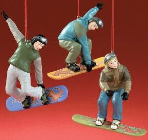 Male Snowboarders Christmas Ornament (Set of 3)