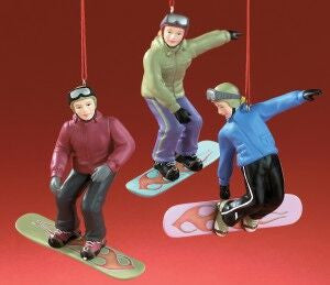Female Snowboarders Christmas Ornament (Set of 3)