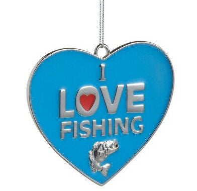 I Love Fishing Christmas Ornament