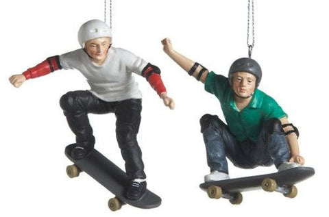 Skate Boarders Christmas Ornaments (Set of 2)
