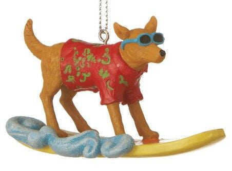 Surfing Dog Christmas Ornament
