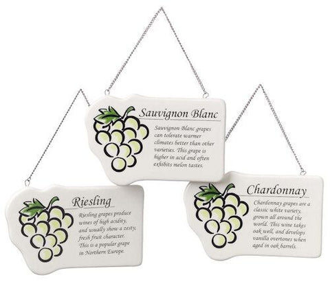 White Wine Plaques Christmas Ornaments (set of 3)