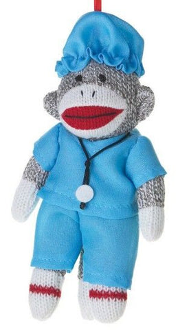Sock Monkey Doctor Christmas Ornamant
