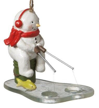 Ice Fishing Snowman Christmas Ornament