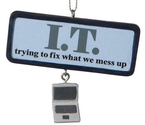 I. T. Plaque Christmas Ornament