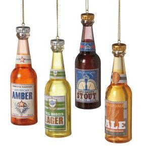 Beer Bottle Christmas Ornaments (Set of 4)