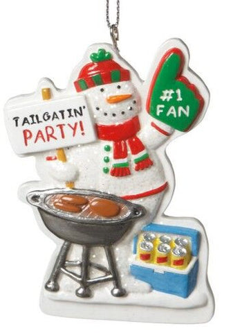 Tailgate Party Snowman Christmas Ornament