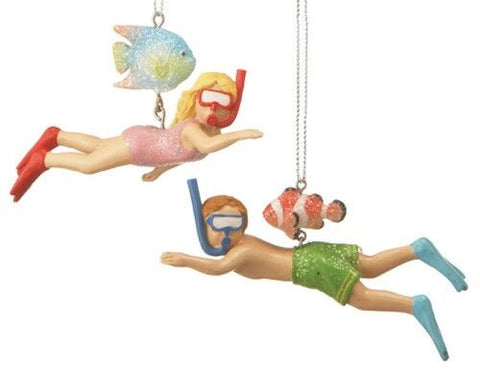 Snorkeling Christmas Ornamant (Set of 2)