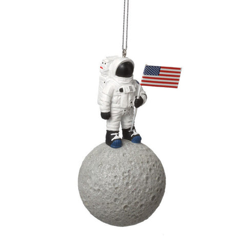 Austronaut on Moon Christmas Ornament