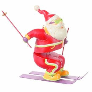 Skating Santa Christmas Ornament