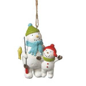 Fishing Snowmen Christmas Ornament