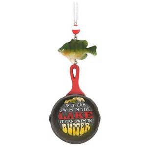 Frying Pan with Fish Christmas Ornament