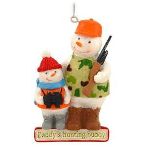 Daddy's Hunting Buddy Snowman Christmas Ornament