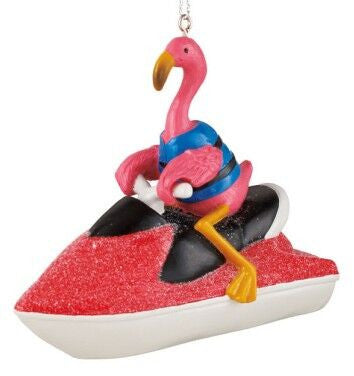 Flamingo on Jet Ski Christmas Ornament